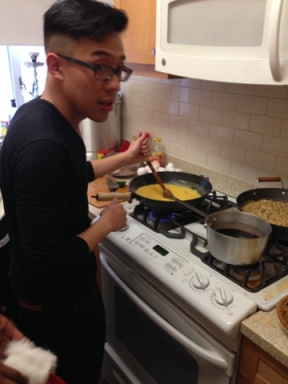Stirrin' the eggs while the roommate blasts Jay-Z's