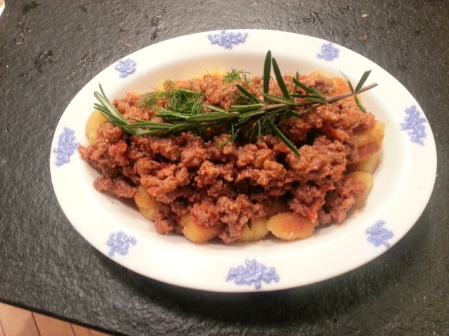 Spicy Lamb Ragu over Gnocchi.
