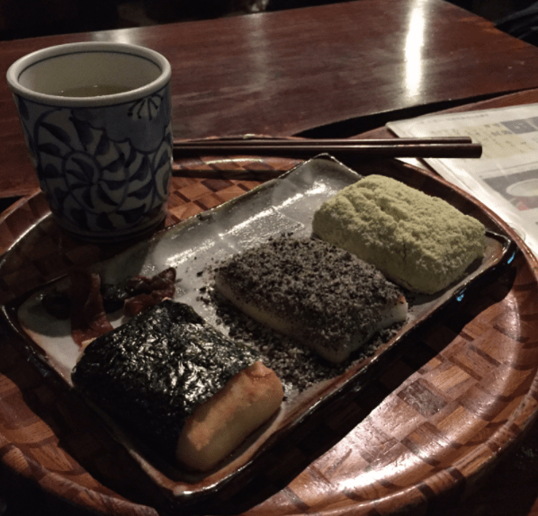 Three types of Chikara Mochi paired with a cup of tea