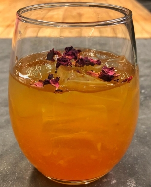 Kanoka Rose Cocktail - Prohibition Distillery Vodka infused with Kanoka Assam Black Tea garnished with dried Rose Petals
